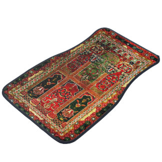 Oriental rug in red and green car mat