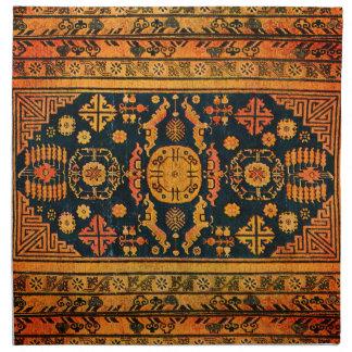 Oriental rug look in  oranges & black napkin
