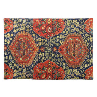 Oriental rug pattern in blue&orange placemat