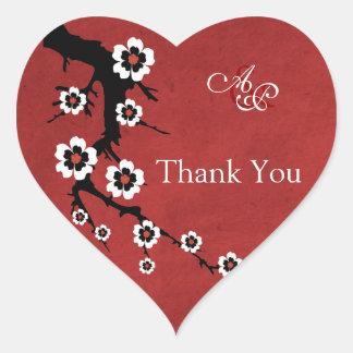 Oriental Sakura Thank You Wedding Sticker