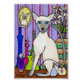 Oriental Siamese Cat with Exotic Perfumes Mini Art Poster