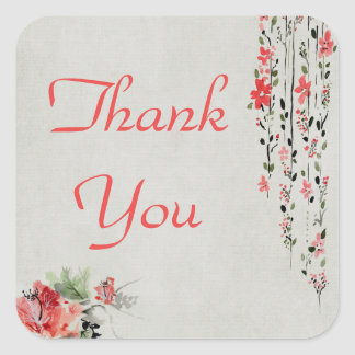 Oriental style floral watercolor thank you square sticker