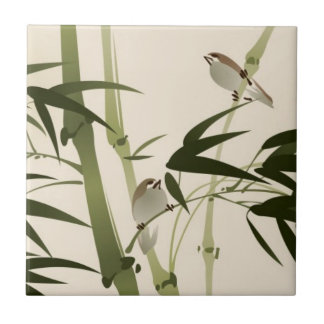 Oriental style painting, bamboo branches ceramic tile