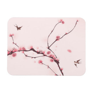 Oriental style painting cherry blossom rectangle magnet