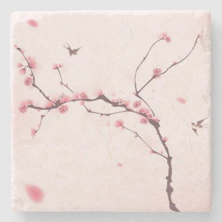 Oriental style painting, cherry blossom stone coaster