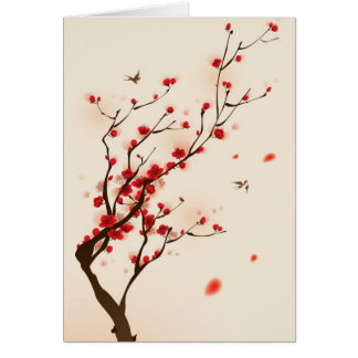 Oriental style painting, plum blossom in spring 2 greeting card