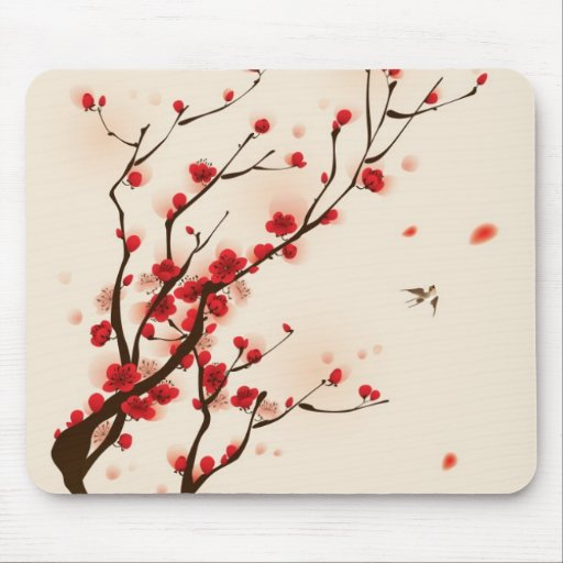 Oriental style painting, plum blossom in spring 2 mouse pads