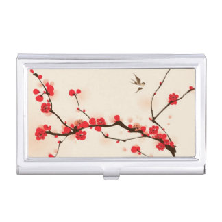 Oriental style painting, plum blossom in spring 3 business card holder