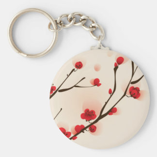 Oriental Style Painting Plum Blossom in Spring Basic Round Button Key Ring