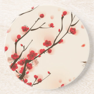 Oriental Style Painting Plum Blossom in Spring Drink Coasters