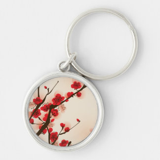 Oriental Style Painting Plum Blossom in Spring Silver-Colored Round Key Ring