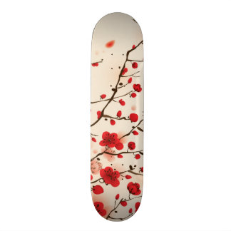 Oriental style painting, plum blossom in spring skateboard decks