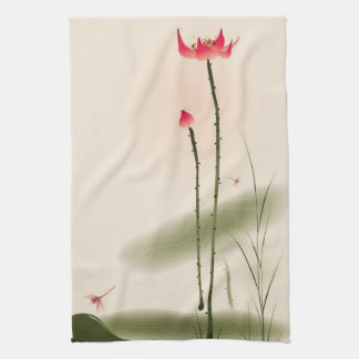 Oriental style painting, tall Lotus Tea Towel