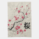 Oriental Style Sakura Cherry Blossom Art Tea Towel