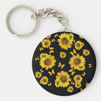 Oriental Style Yellow Butterflies Sunflowers Basic Round Button Key Ring
