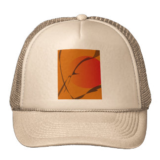 Oriental Sunset Japanese Wood Block Print Style Cap