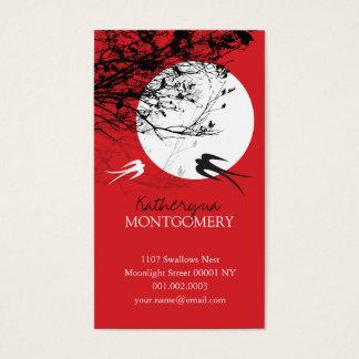 Oriental Swallows Birds Moonlight Tree Branches Ze Business Card