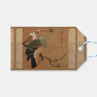 Oriental vintage art bird and cherry blossom gift tags