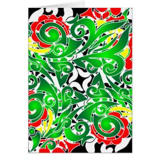 oriental vivid pattern greeting card