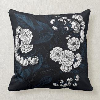 Oriental white peony embroidery cushion