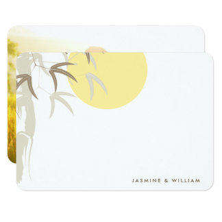 Oriental Yellow Sunrise Bamboo Wedding Thank You Card