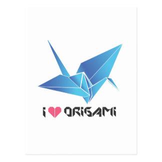 origami bird postcard