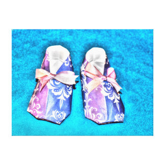 ORIGAMI BLUE BABY SHOES JAPANESE PAPER ART STRETCHED CANVAS PRINTS