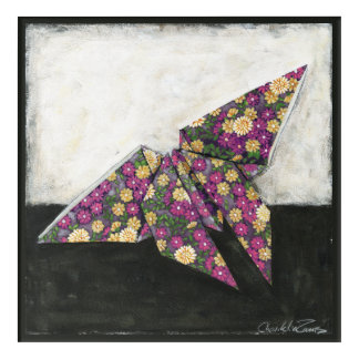 Origami Butterfly on Floral Paper Acrylic Print