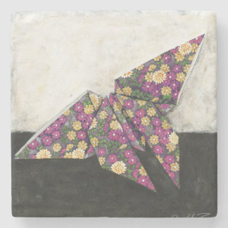 Origami Butterfly on Floral Paper Stone Coaster