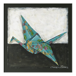 Origami Crane with Floral Designs Acrylic Wall Art