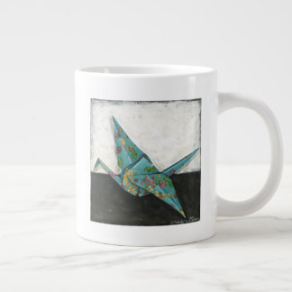 Origami Crane with Floral Designs Large Coffee Mug