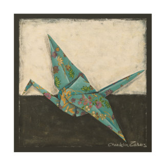 Origami Crane with Floral Designs Wood Print