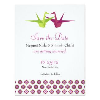 Origami Cranes Wedding Save the Date 11 Cm X 14 Cm Invitation Card