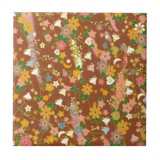 Origami Flowers & Stars Small Square Tile