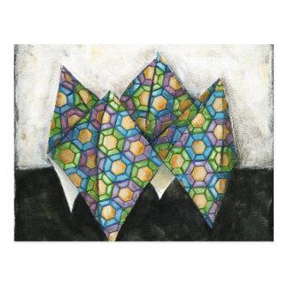 Origami Fortune Teller on Geometric Paper Postcard