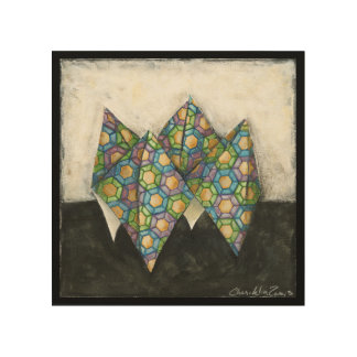 Origami Fortune Teller on Geometric Paper Wood Wall Art