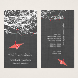 Origami Japanese Red Paper Cranes Silhouette Tree Business Card