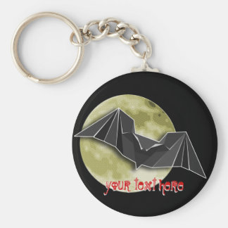 Origami Paper Bat with Full Blue/Yellow/Brown Moon Keychain