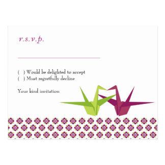 Origami Paper Crane Wedding Postcard