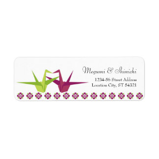 Origami Paper Crane Wedding Return Address Label