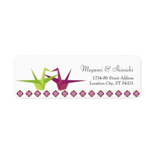 Origami Paper Crane Wedding Return Address Label