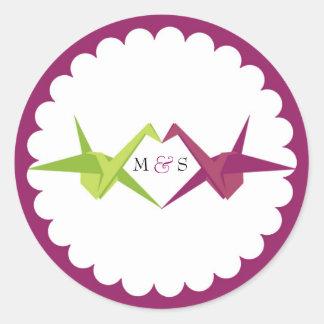 Origami Paper Crane Wedding Round Sticker
