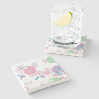 Origami Paper Cranes and Flowers Stone Coaster