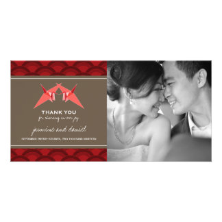 Origami Paper Cranes Asian Wedding Thank You Card Picture Card