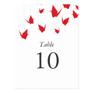 Origami Paper Cranes Table Numbers Postcard