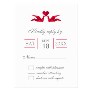 origami red cranes wedding rsvp postcard