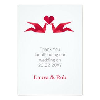 origami red cranes Wedding Thank You cards 13 Cm X 18 Cm Invitation Card