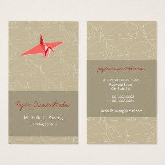 Origami Red Paper Crane Zen Japanese Modern Art Business Card