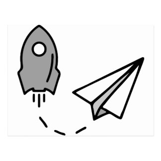 origami Rocket and paper airplane Postcard