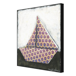 Origami Sailboat on Star Design Paper Canvas Print